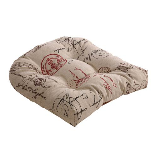 Pillow Perfect Linen And Red French Postale Chair Cushion