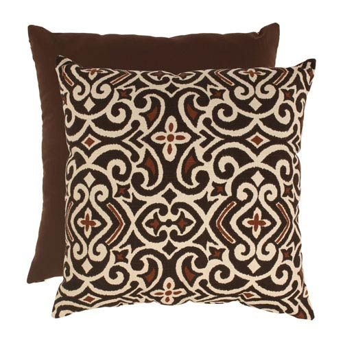 Brown and Beige Damask 24.5-Inch Floor Pillow