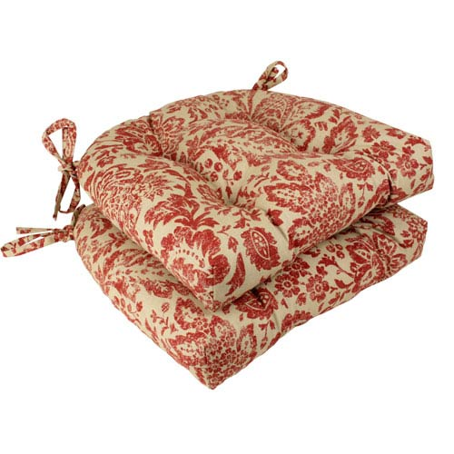 Damask Red and Tan Reversible Chair Pad, Set of Two