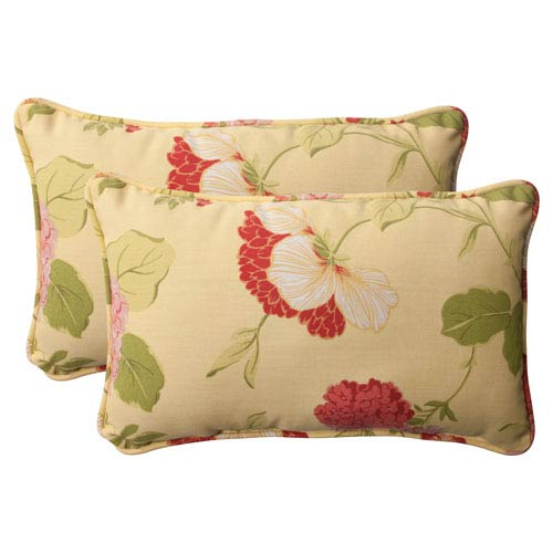 Pillow Perfect Outdoor Risa Corded Rectangular Throw Pillow in Lemonade, Set of Two