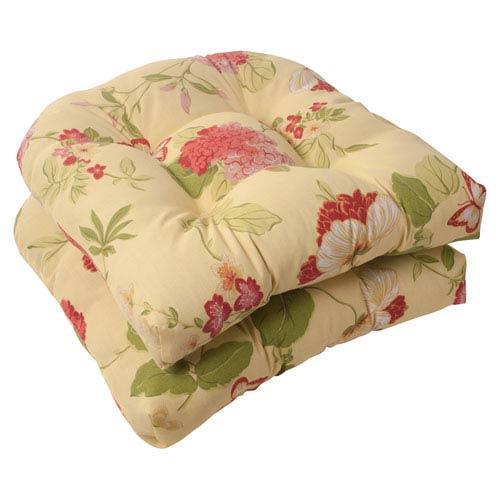 Outdoor Risa Wicker Seat Cushion In Lemonade Set Of Two