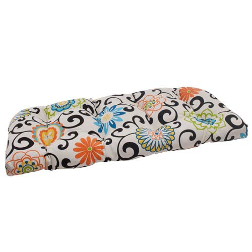 Pillow Perfect Pom Pom Play Wicker Loveseat Cushion in Lagoon
