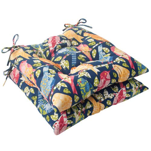 Pillow Perfect Outdoor Ash Hill Tufted Seat Cushion in Navy, Set of Two
