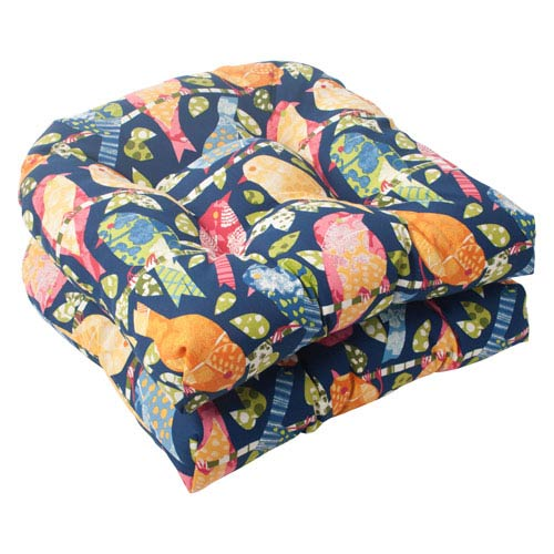 Pillow Perfect Outdoor Ash Hill Wicker Seat Cushion in Navy, Set of Two