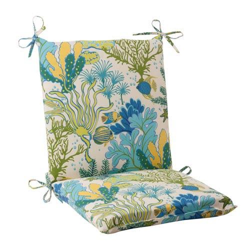 Pillow Perfect Outdoor Splish Splash Squared Chair Cushion in Blue
