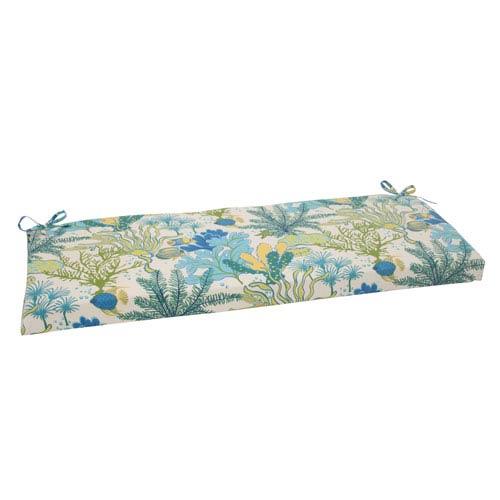 Pillow Perfect Outdoor Splish Splash Bench Cushion in Blue