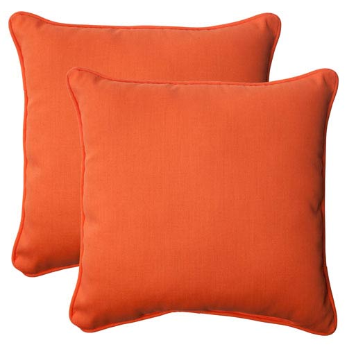 Outdoor Sundeck Corded 18.5-Inch Throw Pillow in Orange, Set of Two