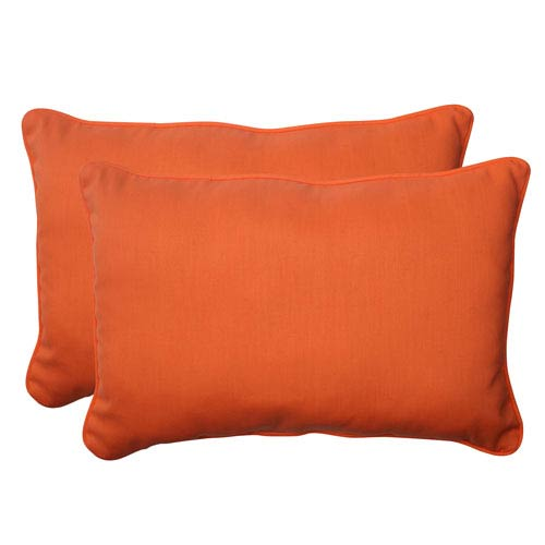 Outdoor Sundeck Corded Oversized Rectangular Throw Pillow in Orange, Set of Two