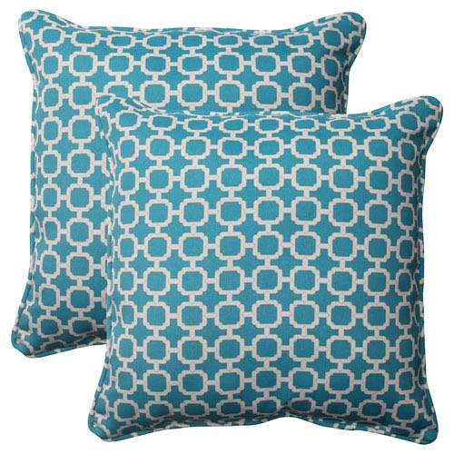 Pillow Perfect Outdoor Hockley Corded 18.5-Inch Throw Pillow in Teal, Set of Two