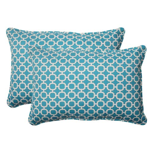 Pillow Perfect Outdoor Hockley Corded Oversized Rectangular Throw Pillow in Teal, Set of Two