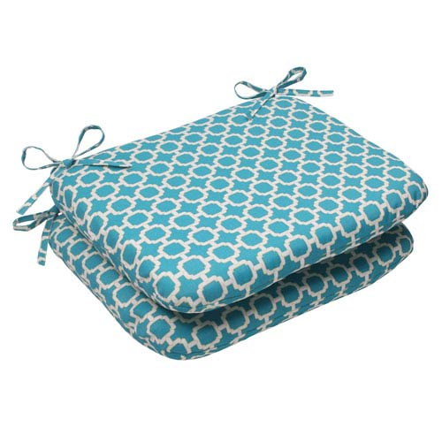 Pillow Perfect Outdoor Hockley Rounded Seat Cushion in Teal, Set of Two