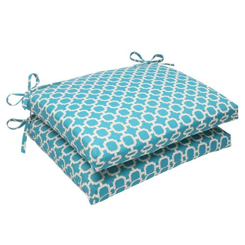 Pillow Perfect Outdoor Hockley Squared Seat Cushion in Teal, Set of Two