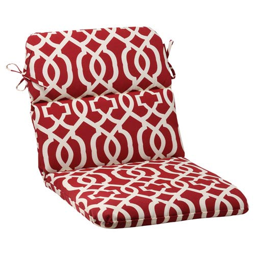 Pillow Perfect Outdoor New Geo Rounded Chair Cushion In Red 498546 Bellacor