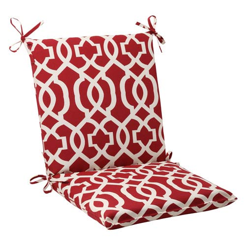 Pillow Perfect Outdoor New Geo Squared Chair Cushion in Red