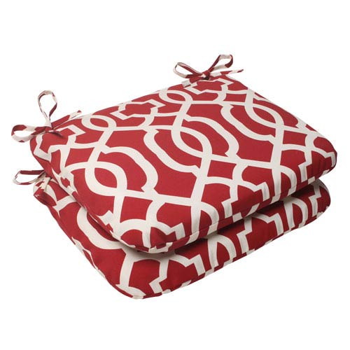 Pillow Perfect Outdoor New Geo Rounded Seat Cushion in Red, Set of Two