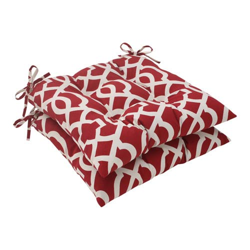 Pillow Perfect Outdoor New Geo Tufted Seat Cushion in Red, Set of Two