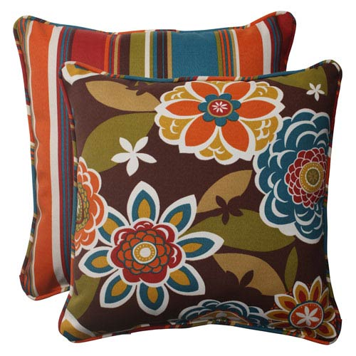 Pillow Perfect Outdoor Annie Westport Reversible Corded 18.5-Inch Throw Pillow in Chocolate, Set of Two
