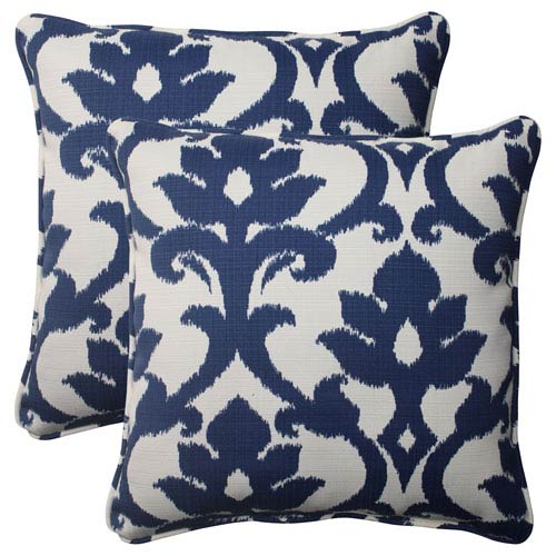 Pillow Perfect Outdoor Bosco Corded 18.5-Inch Throw Pillow in Navy, Set of Two