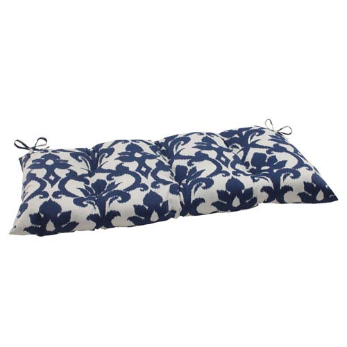 Pillow Perfect Outdoor Bosco Tufted Loveseat Cushion in Navy