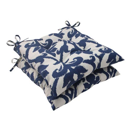 Pillow Perfect Outdoor Bosco Tufted Seat Cushion in Navy, Set of Two