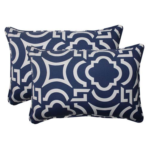 Pillow Perfect Outdoor Carmody Corded Oversized Rectangular Throw Pillow in Navy, Set of Two