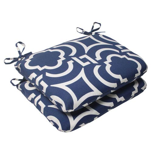 Pillow Perfect Outdoor Carmody Rounded Seat Cushion in Navy, Set of Two
