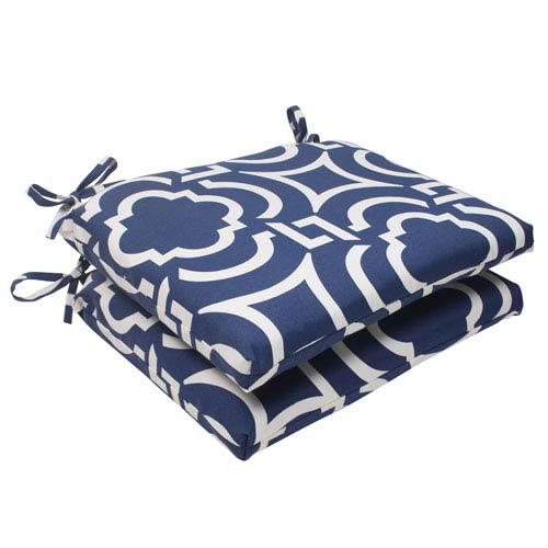 Pillow Perfect Outdoor Carmody Squared Seat Cushion in Navy, Set of Two