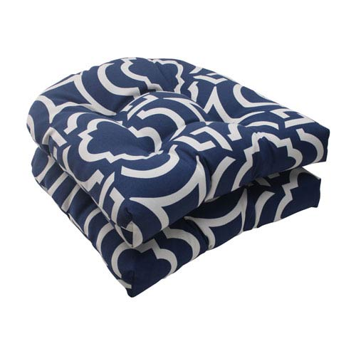 Pillow Perfect Outdoor Carmody Wicker Seat Cushion in Navy, Set of Two