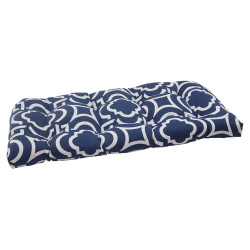 Pillow Perfect Outdoor Carmody Wicker Loveseat Cushion in Navy