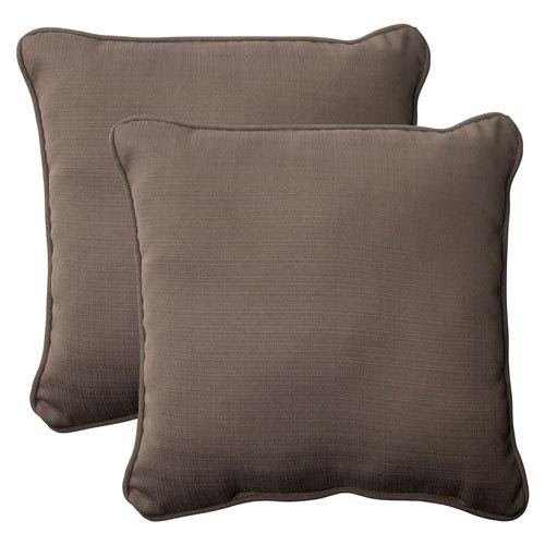 Pillow Perfect Outdoor Forsyth Corded 18.5-Inch Throw Pillow in Taupe, Set of Two
