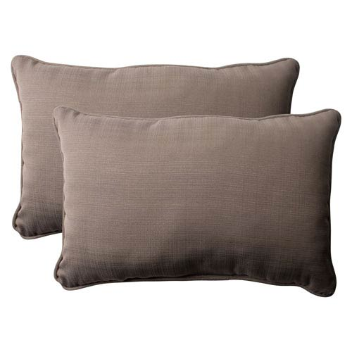 Outdoor Forsyth Corded Oversized Rectangular Throw Pillow in Taupe, Set of Two