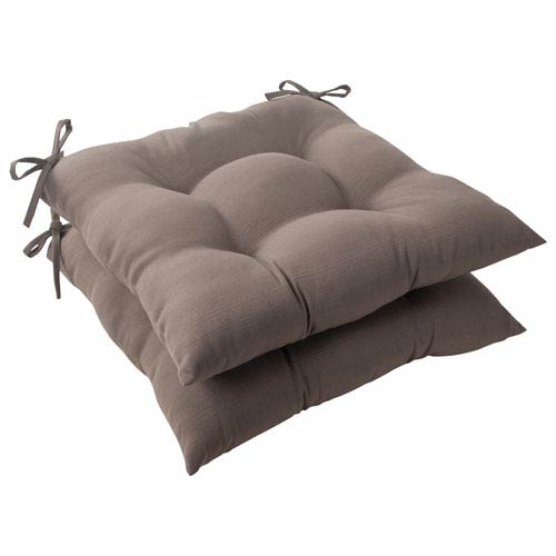 Pillow Perfect Outdoor Forsyth Tufted Seat Cushion in Taupe, Set of Two