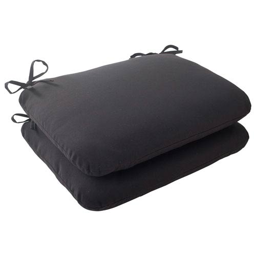 Pillow Perfect Outdoor Fresco Rounded Seat Cushion in Black, Set of Two