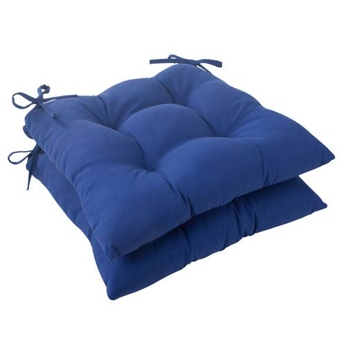 Pillow Perfect Outdoor Fresco Tufted Seat Cushion in Navy, Set of Two