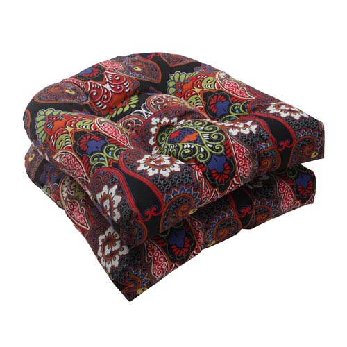 Pillow Perfect Outdoor Marapi Wicker Seat Cushion in Black, Set of Two