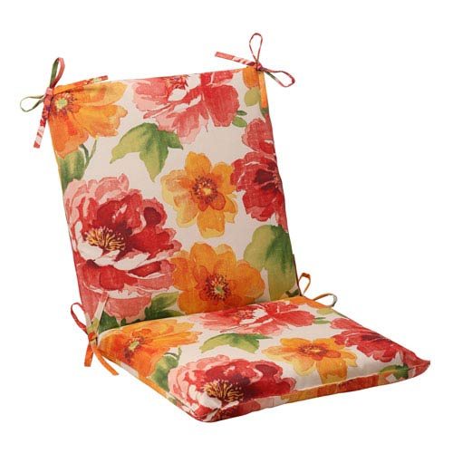 Pillow Perfect Outdoor Primro Squared Chair Cushion in Orange