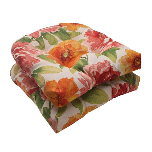 Pillow Perfect Outdoor Primro Wicker Seat Cushion in Orange, Set of Two