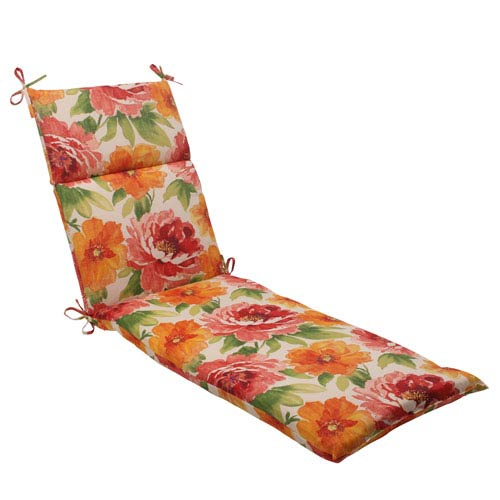 Pillow Perfect Outdoor Primro Chaise Lounge Cushion in Orange