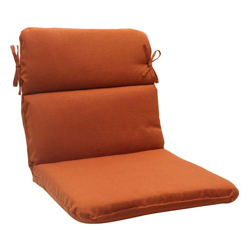 Pillow Perfect Outdoor Cinnabar Rounded Chair Cushion in Burnt Orange