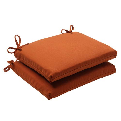 Pillow Perfect Outdoor Cinnabar Squared Seat Cushion in Burnt Orange, Set of Two