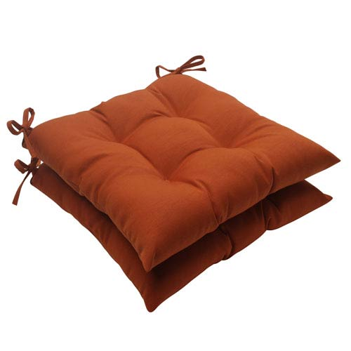 Pillow Perfect Outdoor Cinnabar Tufted Seat Cushion in Burnt Orange, Set of Two