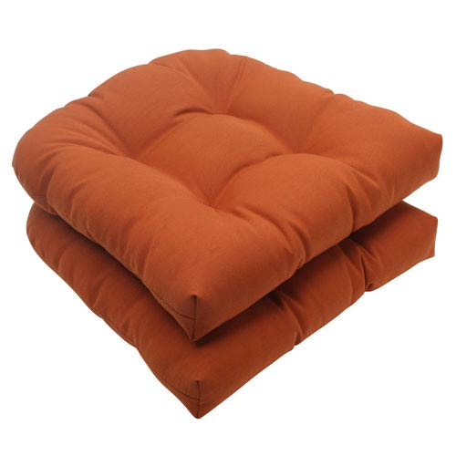 Pillow Perfect Outdoor Cinnabar Wicker Seat Cushion in Burnt Orange, Set of Two