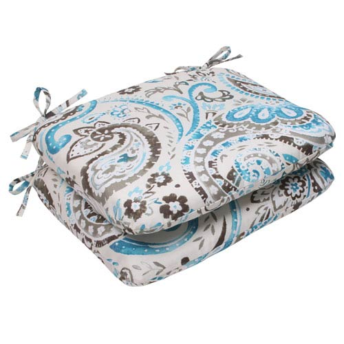 Pillow Perfect Outdoor Paisley Rounded Seat Cushion in Tidepool, Set of Two