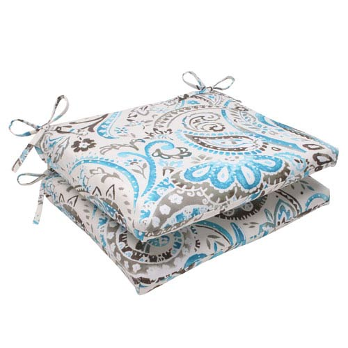 Pillow Perfect Outdoor Paisley Squared Seat Cushion in Tidepool, Set of Two