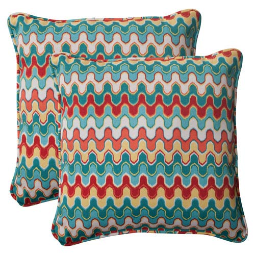 Pillow Perfect Outdoor Nivala Corded 18.5-Inch Throw Pillow in Blue, Set of Two