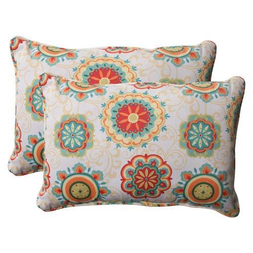 Pillow Perfect Outdoor Fairington Corded Oversized Rectangular Throw Pillow in Aqua, Set of Two