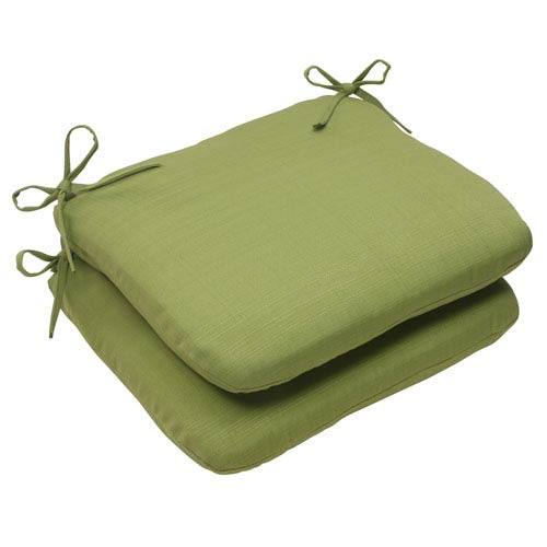 Pillow Perfect Outdoor Forsyth Rounded Seat Cushion in Green, Set of Two