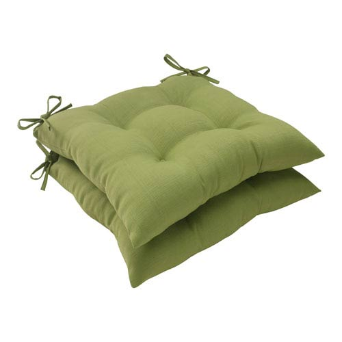 Pillow Perfect Outdoor Forsyth Tufted Seat Cushion in Green, Set of Two