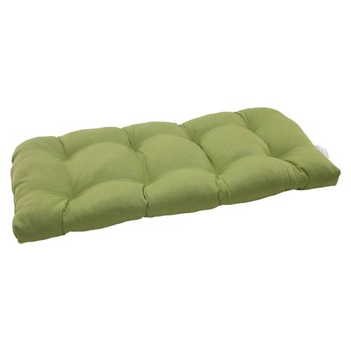 Pillow Perfect Outdoor Forsyth Wicker Loveseat Cushion in Green