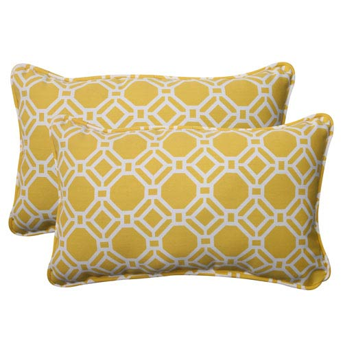 Pillow Perfect Outdoor Rossmere Corded Rectangular Throw Pillow in Yellow, Set of Two